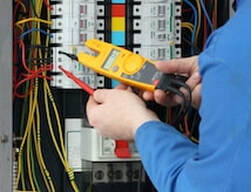 Electrical safety inspection testing electrical panel and circuit breakers